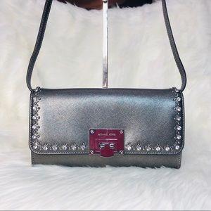 Michael Kors Tina Clutch Jeweled Dark Silver